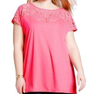 Coral Pink Floral Burnout Blouse 1x Top Shirt